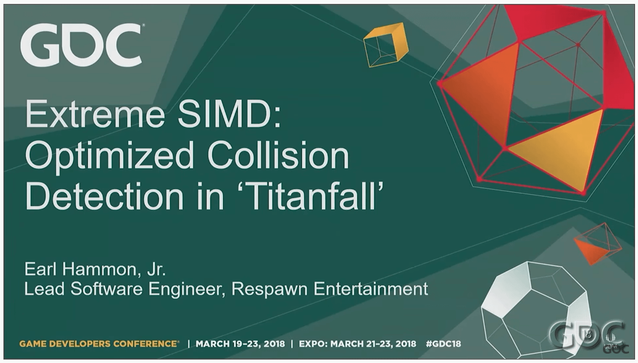 """youtube screenshot of talk of """"Extreme SIMD: Optimized Collision Detection in Titanfall"""". Used as featured image of post of Optimized Collision Detection Algorithm Used In Titanfall. Youtube link is https://www.youtube.com/watch?v=6BIfqfC1i7U"""