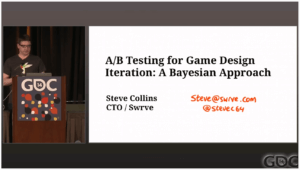 """youtube screenshot of talk of """"A/B Testing for Game Design Iteration: A Bayesian Approach"""".What is A/B Testing? – Bayesian Approach vs Null Hypothesis. Youtube link is https://www.youtube.com/watch?v=-OfmPhYXrxY"""