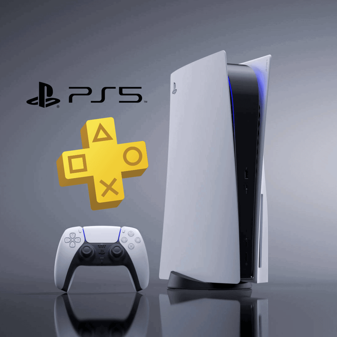 ps5 and ps plus logo image is made by me by combining ps5 logo, ps5 console, ps plus logo